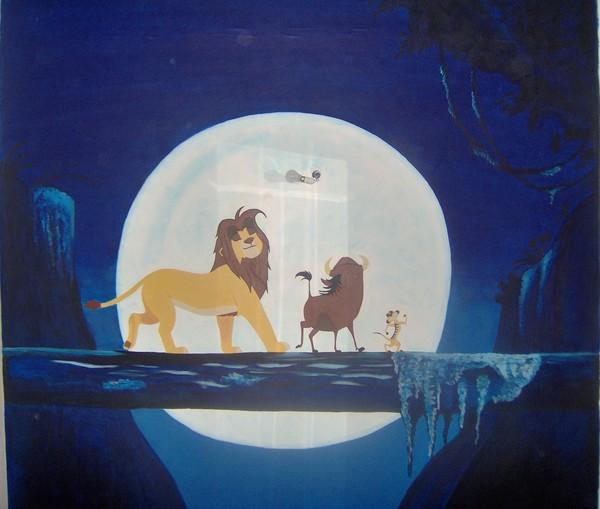 fresque murale le roi lion. Black Bedroom Furniture Sets. Home Design Ideas